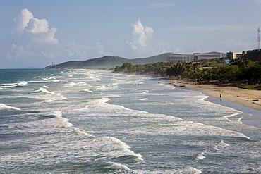 "Long breakers on the ""Playa Guacuco"" Beach, Margarita Island, Caribbean, Venezuela, South America"