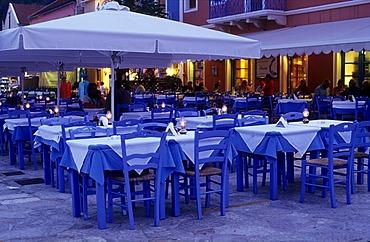Restaurant on Fiskardo harbour, Island of Kefalonia, Greece, Europe
