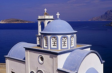 Chruch in the Kantouni Bay, in the West of Kalymnos, Greece, Europe
