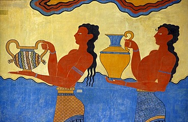 Paintings in the Palace of Knossos, Crete, Greece, Europe