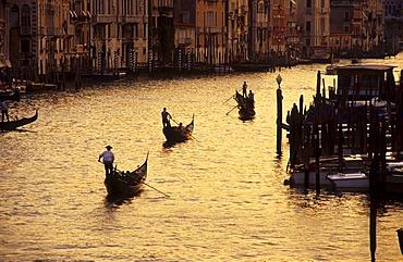 Gondolas on the Canal Grande, Venice, Italy, Europe