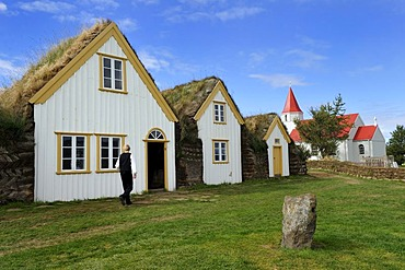 Museum courtyard Glaumbaer, open-air museum, sod yard, turf walls, grass roofs, wood facade, Iceland, Europe