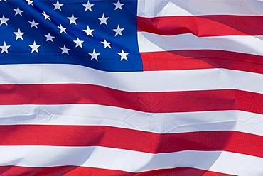 Fluttering flag, USA