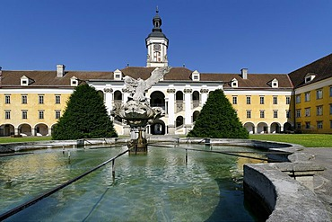 Cloistered courtyard of convent the Augustinian Canons, St Florian, Upper Austria, Europe