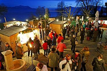Christmas market, Fraueninsel Island, Lake Chiemsee, Chiemgau, Upper Bavaria, Germany, Europe