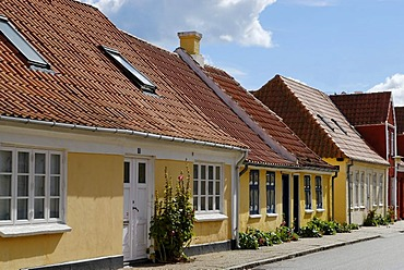 Village street, Saeby, Jutland, Denmark, Europe