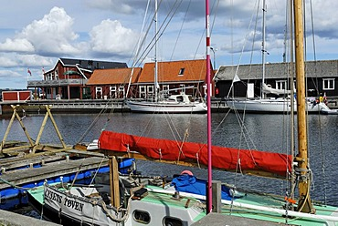 Port with warehouses, Saeby, Jutland, Denmark, Europe