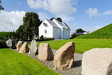 Prehistoric stones, Jelling near Vejle, Jutland, Denmark, Europe