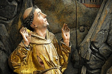 The Francis of Assisi Altar by Tilman Riemenschneider, detail, Rothenburg ob der Tauber, Bavaria, Germany, Europe