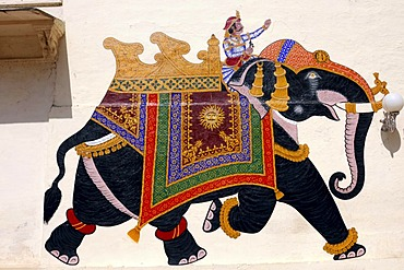 Elephant, wall painting, City Palace, Udaipur, Rajasthan, North India, Asia
