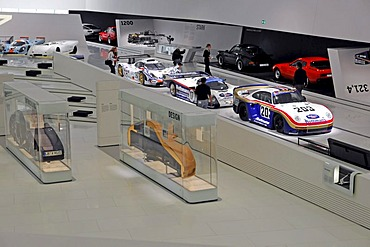 Interior view with various Porsche models, New Porsche Museum, Stuttgart, Baden-Wuerttemberg, Germany, Europe
