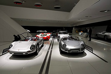 Interior view with Porsche sports cars, new Porsche Museum, Stuttgart, Baden-Wuerttemberg, Germany, Europe