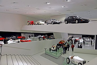 Interior, new Porsche Museum, Stuttgart, Baden-Wuerttemberg, Germany, Europe