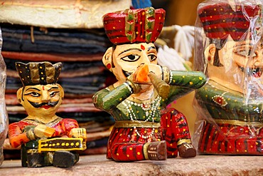 Souvenir sale near Lake Garisar, Jaisalmer, Rajasthan, North India, Asia