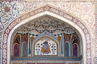 Details on the entrance, Fort Amber Palace, Amber, Rajasthan, North India, Asia