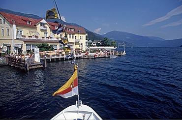 Bow of a boat on Millstaettersee Lake, Millstatt, Carinthia, Austria, Europe