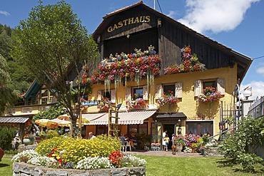 Hotel with flowers, Kremsbruecke, Liesertal Valley, Carinthia, Austria, Europe