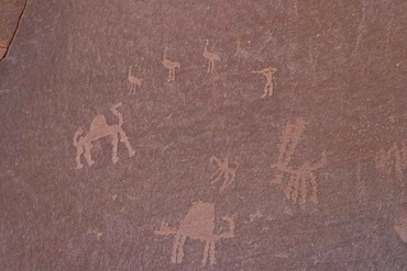 Rock paintings, carvings, Wadi Rum, Jordan, Southwest Asia