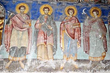 Medieval frescoes in the church of St Athanasius the Apostolic, Kisha e Shen Thanasit, Voskopoje, Albania, Balkans, Europe