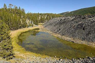 Moraine lake on the Obsidian Flow lava stream, Newberry National Volcanic Monument, Oregon, USA