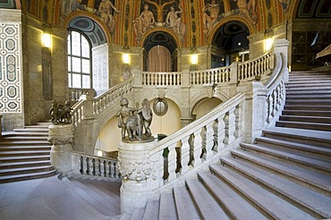 Staircase in the Neues Rathaus townhall, Dresden, Saxony, Germany