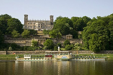 Schloss Albrechtsberg Castle, shore of the river Elbe, paddle wheel steamer, Dresden, Saxony, Germany