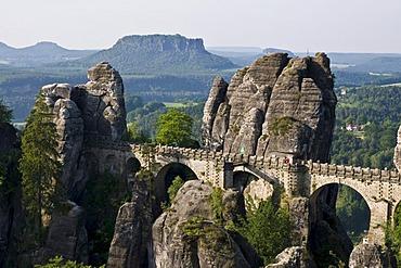 The Bastei sandstone formation, Elbe Sandstone Mountains, Saechsische Schweiz, Saxon Switzerland, Saxony, Germany