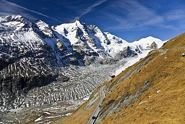Mount Grossglockner, 3798 metres, with the Wilhelm Swarovski Observation Post and the Pasterze Glacier, glacier tongue, Hohe Tauern National Park, Carinthia, Austria, Europe