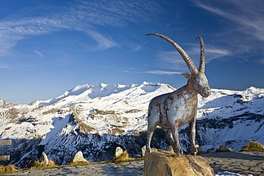 Statue of an ibex at the Fuschertoerl, Grossglockner High Alpine Road, Hohe Tauern National Park, Carinthia, Austria, Europe