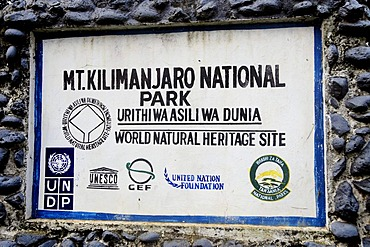 Sign at the entrance to Mount Kilimanjaro National Park, Tanzania, Africa