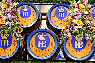 Beer kegs on a beer wagon during the traditional costume parade at the Oktoberfest, Munich, Bavaria, Germany, Europe