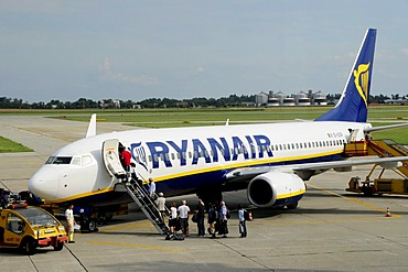 Aeroplane of the budget-flight-company Ryanair at Bratislava Airport, formerly known as Pressburg, Slovakia, Europe