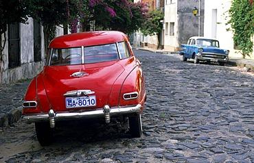 Vintage car on a cobbled stone road in Colonia del Sacramento, Uruguay, South America