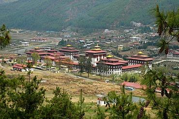 Dzong, Buddhist monastery and fortress, in Thimphu, Bhutan, Himalaya Mountains, Asia