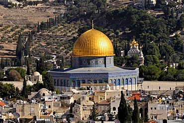 Cupola of the Dome of Rock on the temple mountain, above the historic centre of Jerusalem, Israel, Near East, Orient