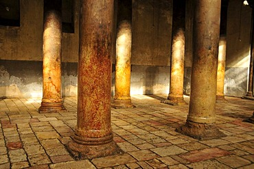 Columned hall in the Chapel of the Nativity of Christ in Bethlehem, West Bank, Israel, Middle East, the Orient