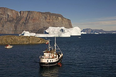 Ship in the Uummannaq bay, Greenland, Denmark