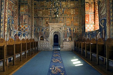 Pronaos of the Church of St Nicholas of the Probota Monastery, UNESCO World Heritage Site, South Bucovina, Moldavia, Romania, Europe