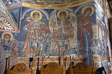 Naos of the Church of St Nicholas of the Probota Monastery, UNESCO World Heritage Site, South Bucovina, Moldavia, Romania, Europe