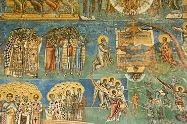 Church of St George of the Voronet Monastry, exterior wall paintings representing the biblical scene The Last Judgment, Third register, St Paul, the prophets and bishops, UNESCO World Heritage Site, South Bucovina, Moldavia, Romania, Europe