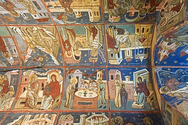 Interior frescoes, Church of the Assumption and St. George, UNESCO World Heritage Site, Humor, Southern Bukovina, Moldova, Romania, Europe