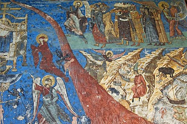 Part of an exterior fresco depicting the scene of the Last Judgement, Church of the Assumption and St. George of Humor, UNESCO World Heritage Site, Southern Bukovina, Moldova, Romania, Europe