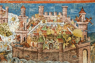 Exterior fresco depicting the siege of Constantinople, Moldovita Church of Annunciation, UNESCO World Heritage Site, Southern Bukovina, Moldova, Romania, Europe