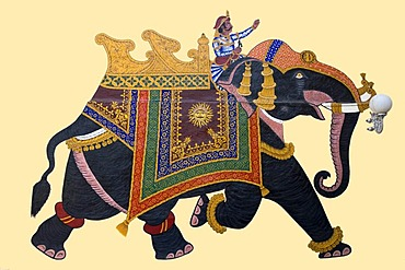 Running Elephant, painting, City Palace, Udaipur, Rajasthan, India, South Asia