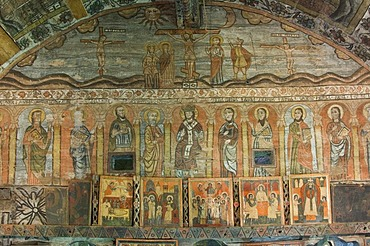 18th century icons, Wood Church of the Holy Archangels, Unesco World Heritage Site, Rogoz, Maramures, Romania