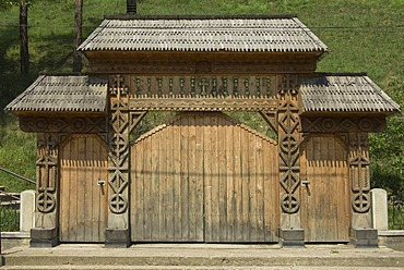 Carved wood portal, Maramures, Romania