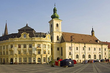 Plaza Piata Mare, City Hall and Baroque Jesuit Church, Sibiu, Transylvania, Romania