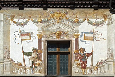 Peles Castle, painted wall in the courtyard, Simiu, Wallachia, Carpathian Mountains, Romania