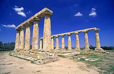 Doric columns of the Temple of Hera in Metaponto, Basilicata, Italy, Europe