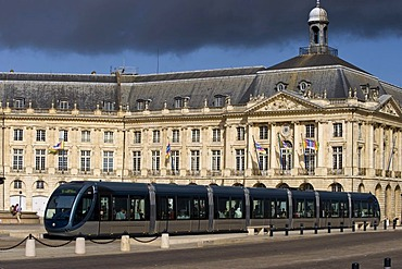 Tram at Place de la Bourse, Stock exchange square, Bordeaux, Aquitaine, France, Europe, PublicGround